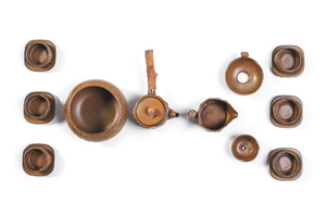 Gongfu Tea Ceremony Set With Brown Glaze