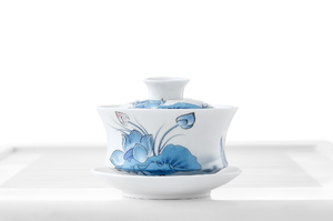 White Gaiwan With Lotus Flowers