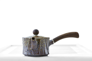 Flat Cylinder Tea Pot With Brown And Mustard Mottled Glaze