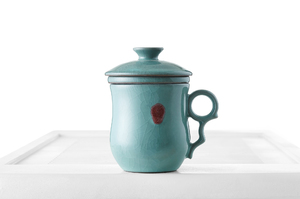 Tall  Tea Steeping Cup With Celadon Crackle Glaze