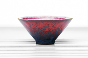 Conical Tea Bowl With Red Crackle Glaze