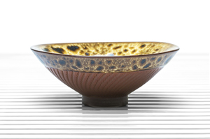 Conical Tea Bowl With Yellow And Brown Mottled Glaze