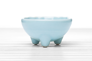 Hemisphere Three-Legged Tea Bowl With Celadon Crackle Glaze