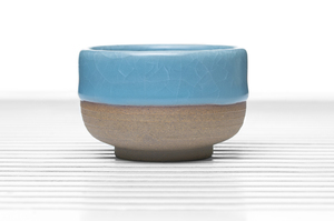 Cylindrical Tea Bowl With Greyish Blue Crackle Glaze