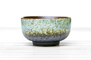 Half Cylinder Tea Bowl  With Eggshell Crackle Glaze