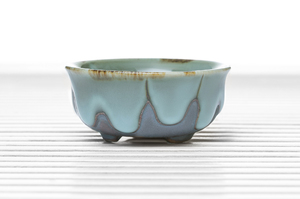 Hemisphere Three-Legged Tea Bowl  With Blue Drip And Maroon Glaze